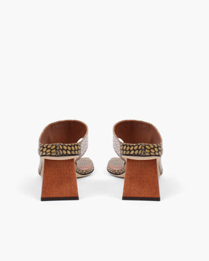 Lina Sandals Leather Polka Snake Khaki