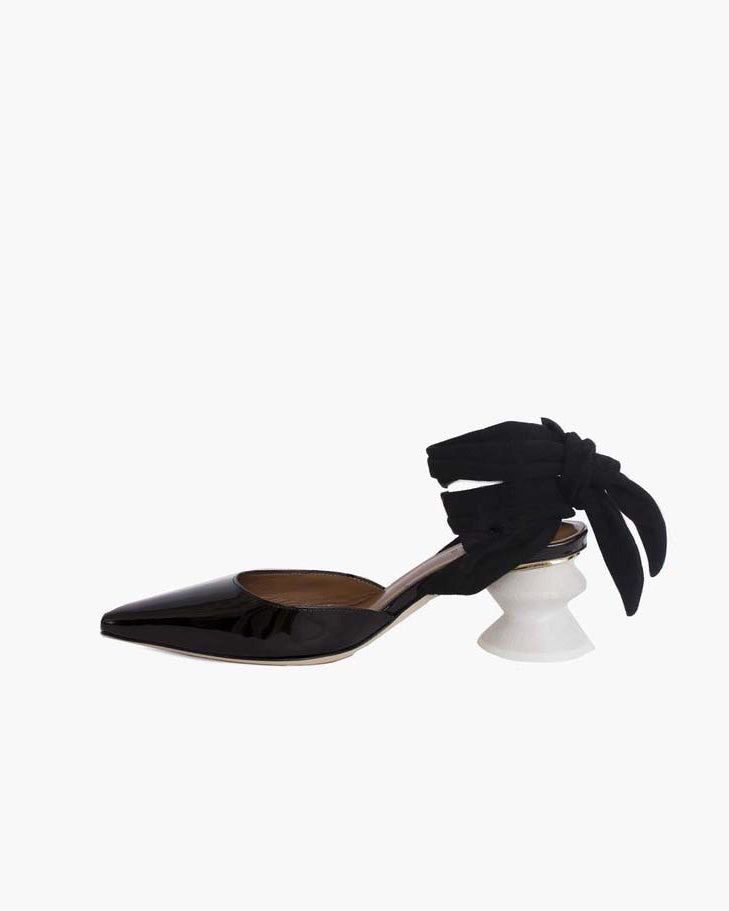 Barbara with White Heel Leather Patent Black