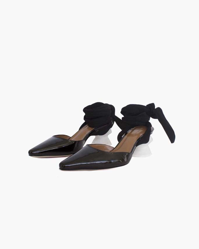 Barbara Leather Patent Black with White Heels - SPECIAL PRICE