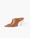 Yasmin Mules Leather Brown with Curved White Wooden Heels