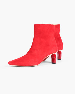 Annie Boots Suede Red with Red Heels