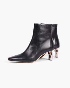 Annie Boots Leather Black with Silver Heels