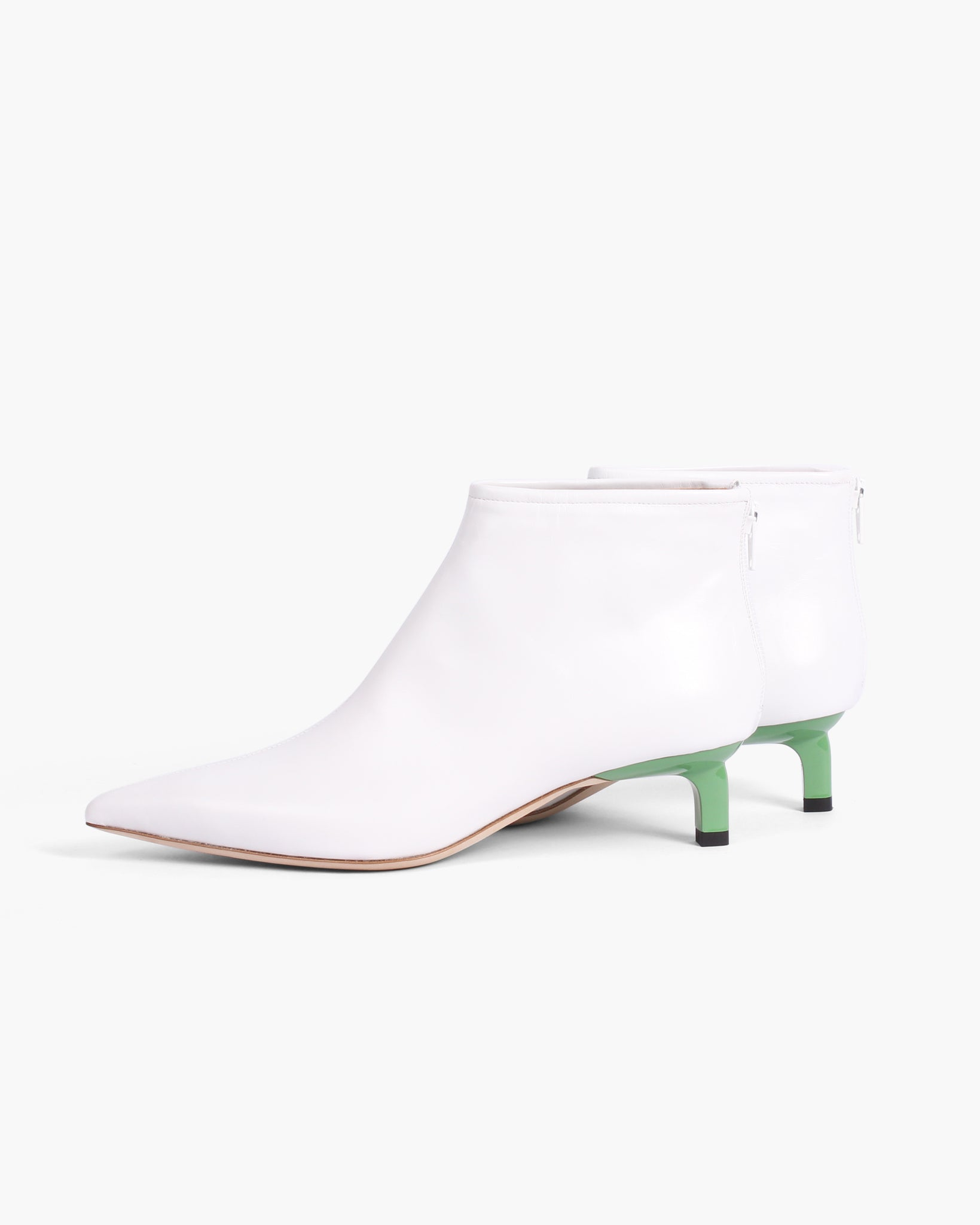 Marta Boot with Green Heel Leather White