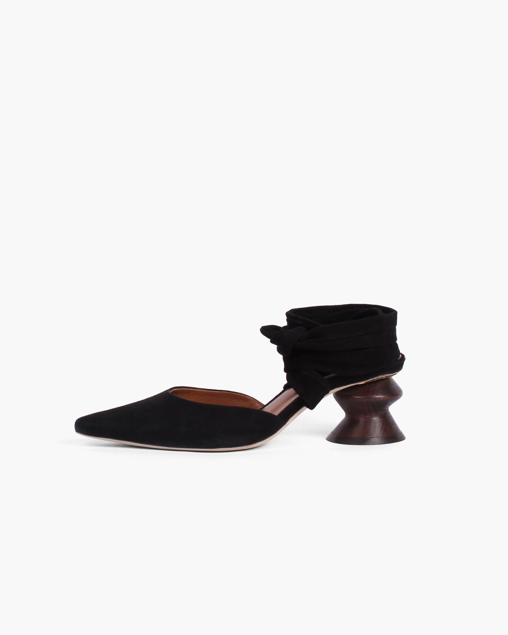 Barbara with Dark Wood Heel Suede Black