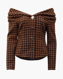 Miriam Blouse Wool Blend Check Brown