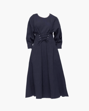 Irene Dress Linen Navy