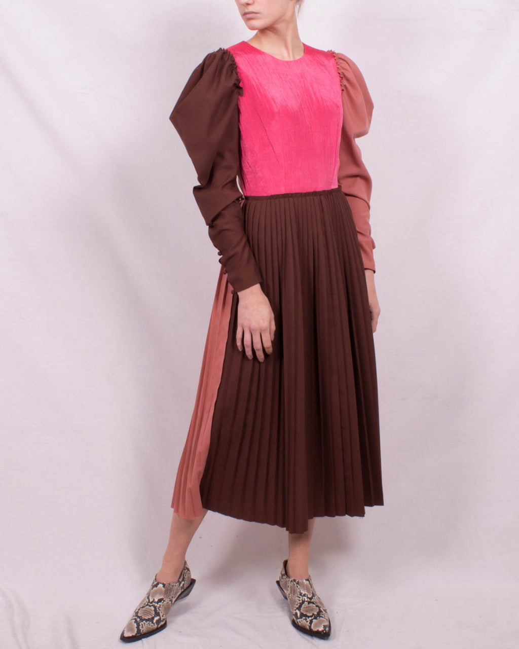 Ivy Dress Japanese Wool Rust Tonal Mix and Satin Crinkle Coral Pink - SPECIAL PRICE