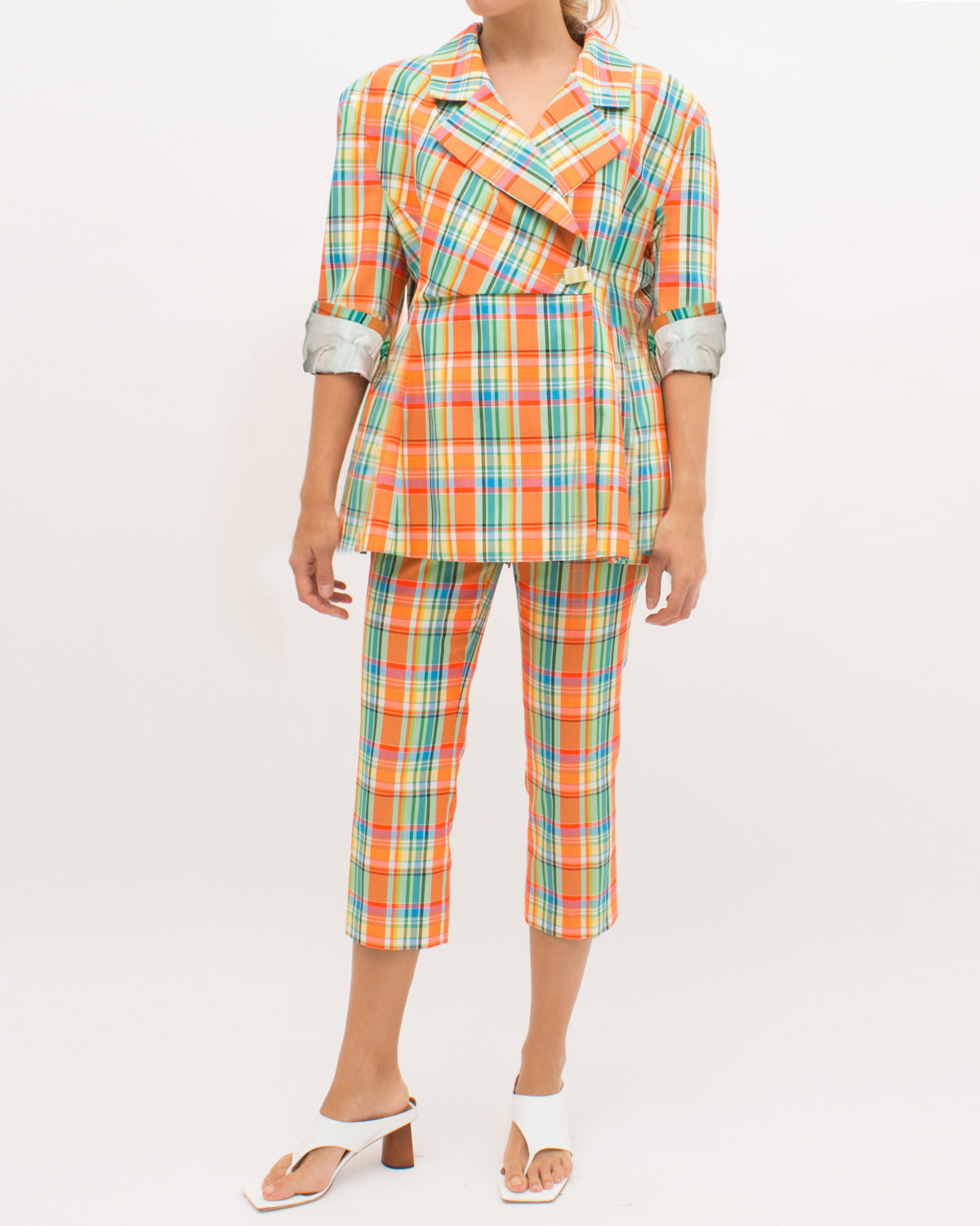 Jodie Jacket Cotton Blend Check Fluo Orange - SPECIAL PRICE