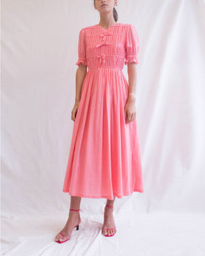 Kristen Dress Cotton Voile Coral - SPECIAL PRICE