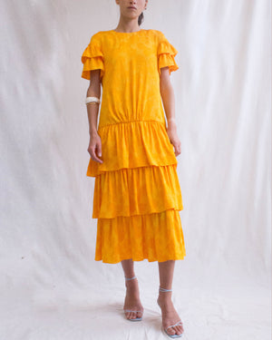 Laura Dress Viscose Jacquard Marigold - SPECIAL PRICE