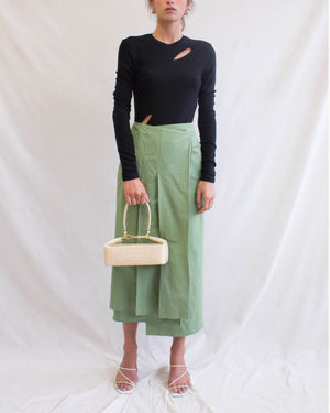 Laurie Skirt Cotton Linen Silk Green - SPECIAL PRICE