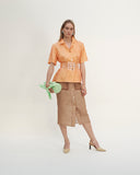 Lily Skirt Chiffon Taupe and Linen Ecru - SPECIAL PRICE