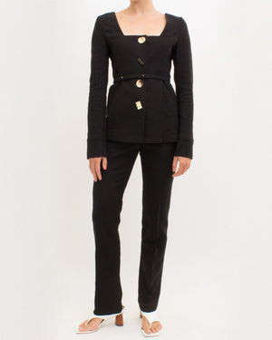 Martina Jacket Linen Twill Blend Black - SPECIAL PRICE