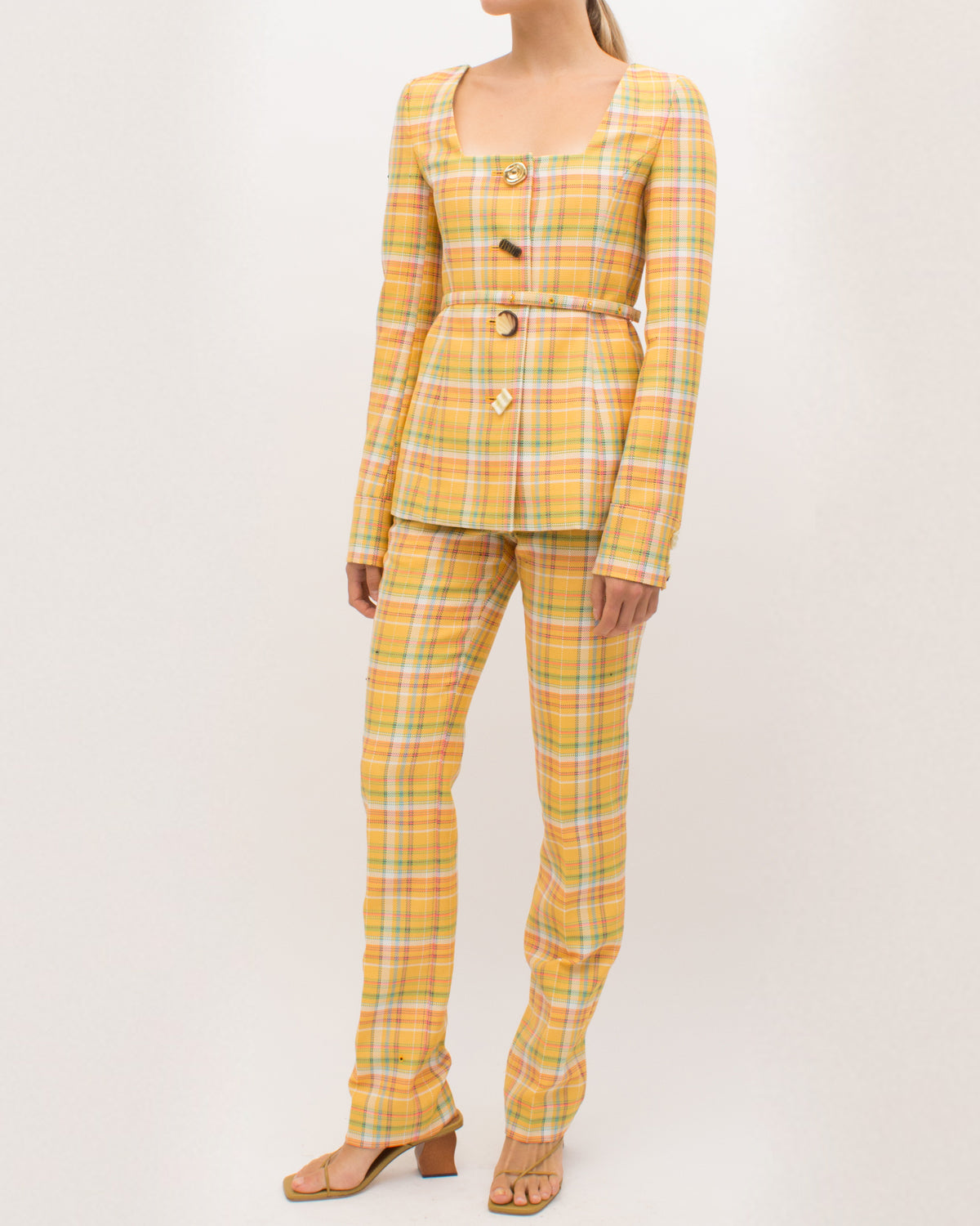 Martina Jacket Cotton Blend Check Yellow - SPECIAL PRICE