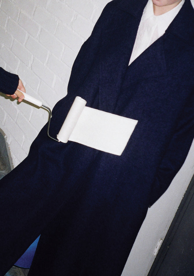 Kate Oversized Coat Wool Navy + Blue + White Melton Wool - SPECIAL PRICE