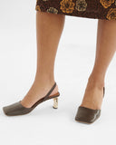 Luna Slingbacks Leather Dark Brown