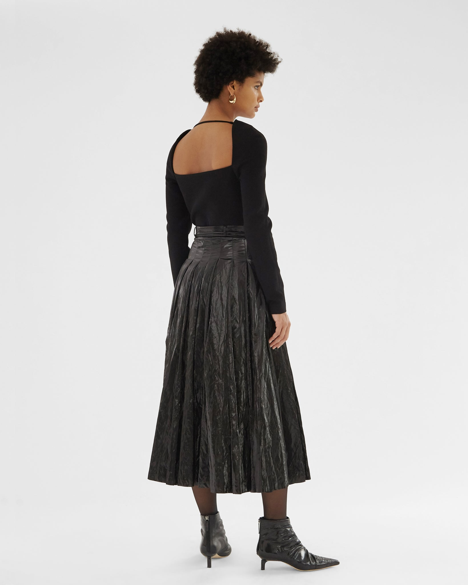 Malia Skirt Coated Satin Twill Black