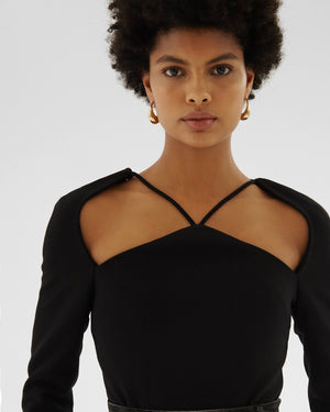 Eliza Top Wool Double-face Black