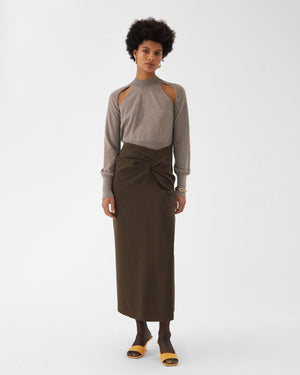 Iris Skirt Wool Double-face Dark Khaki