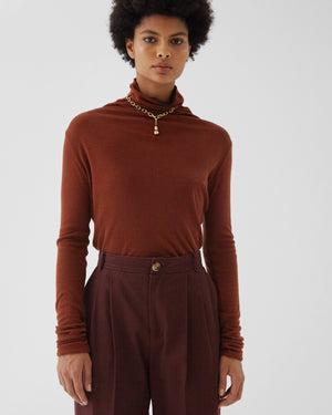 Cameron Top Reversible Tencel Wool Jersey Rust + Chocolate