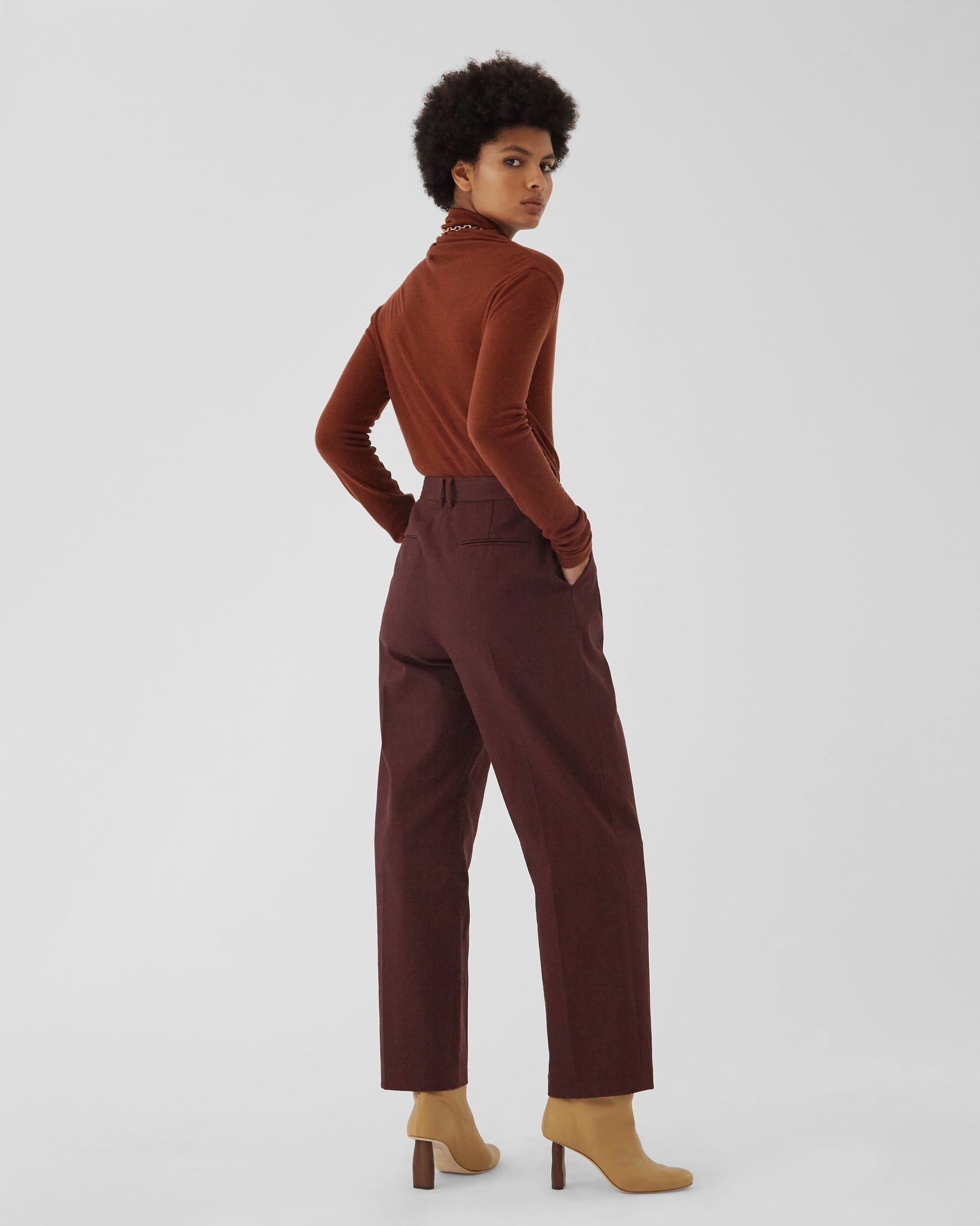 Mateo Trousers Cotton Canvas Burgundy - UNISEX