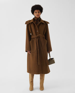 Charlie Coat Wool Boucle Brown