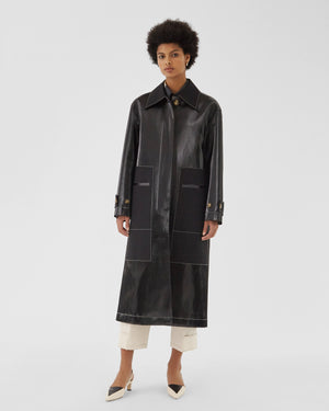 Logan Coat Coated Shiny Twill Black
