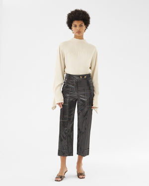 Sadie Trousers Coated Satin Twill Black