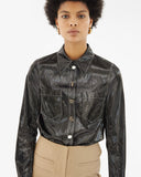 Remi Shirt Coated Shiny Twill Black