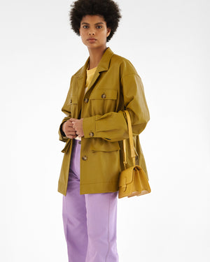 Keiko Jacket Faux Leather Olive Green