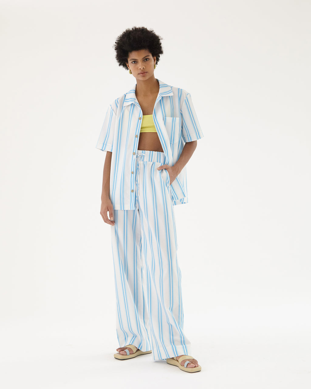 Andi Trousers Organic Cotton Stripe Blue