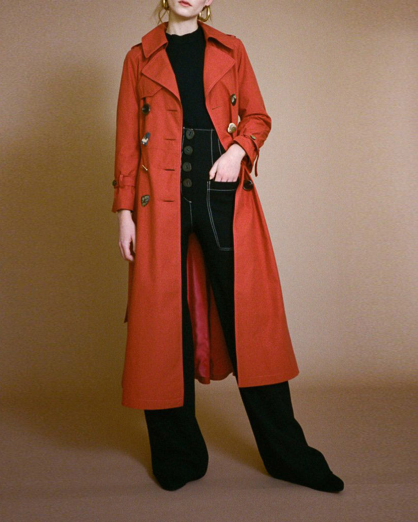 Kirsten Trench Coat Cotton Rust