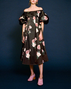 Greta Open-Neck Dress Cotton Rose Printed Charcoal - SPECIAL PRICE