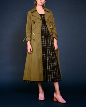 Kirsten Trench Coat Cotton Khaki