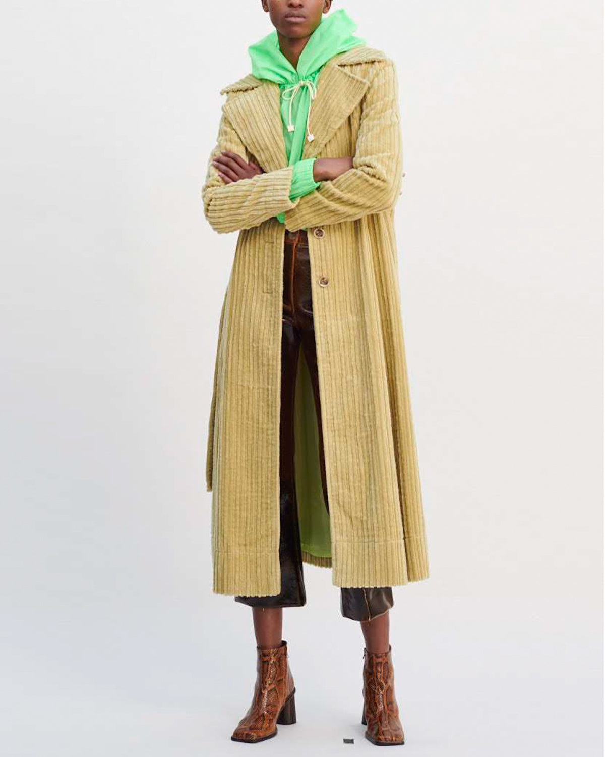 Rhea Trenchcoat Cotton Corduroy Green - SPECIAL PRICE