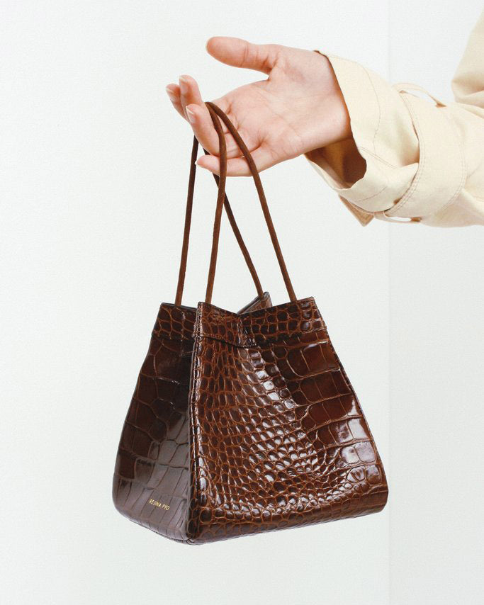 PRE - ORDER / Rita Brown Leather Croc Bag