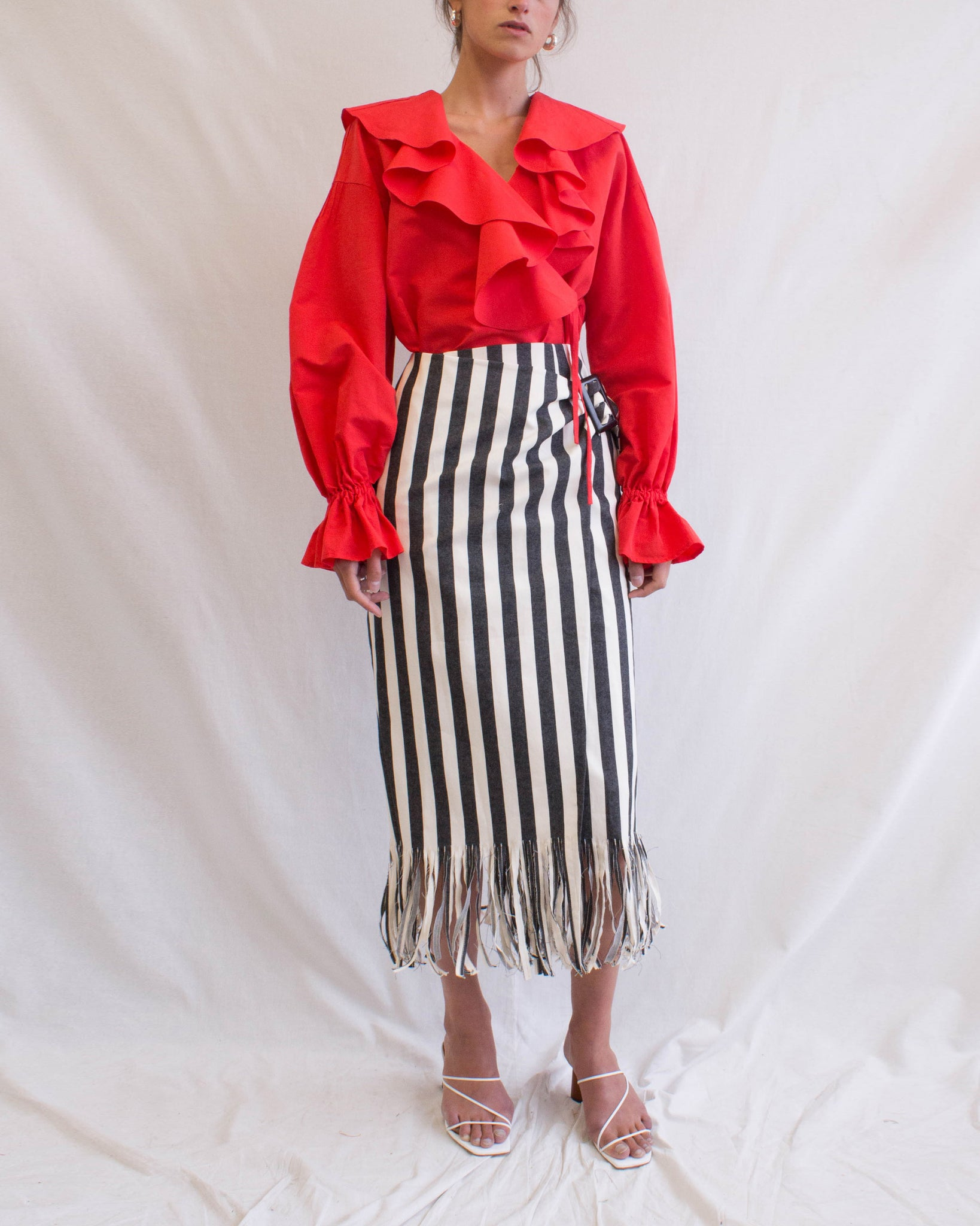 Robin Skirt Cotton Denim Stripe Black - SPECIAL PRICE