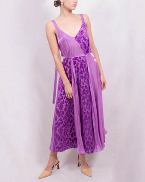 Rosa Dress Georgette Jacquard Purple and Fluid Voile Purple - SPECIAL PRICE