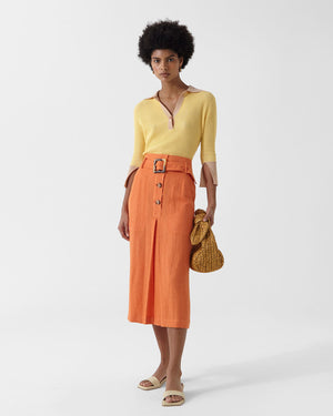 Tamsin Skirt Linen Cotton Blend Orange