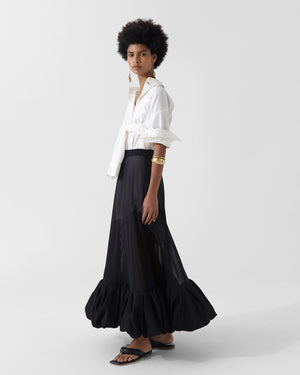 Allegra Skirt Chiffon Black + Crinkle Viscose Black
