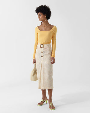 Tamsin Skirt Voile Tweed Beige + Yellow