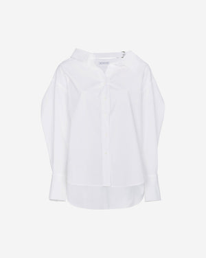 Rosa Shirt Off-White Cotton Poplin with Strap Ring - SPECIAL PRICE