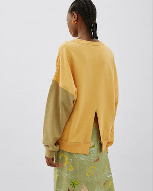 Charlie Sweater Cotton Sweatshirt Yellow Mix with Back Slit Detail
