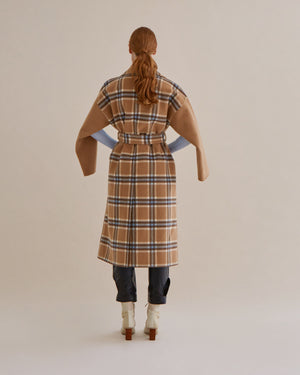 Meryl Coat Wool Check Camel and Blue