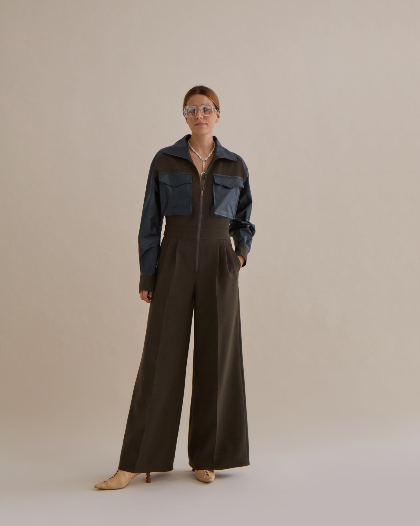 Tate Jumpsuit Wool Khaki Smoke and Cotton Coated Dark Green - SPECIAL PRICE