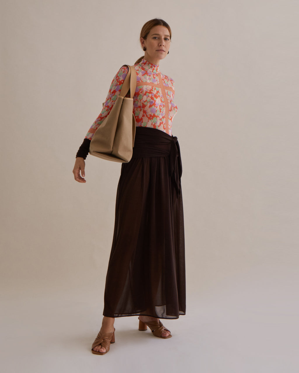 Elena Dress Jersey Tencel Print Multi + Japanese Jersey Dark Brown