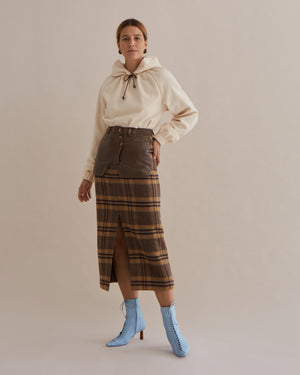 Maggie Skirt Wool Blend Check Brown