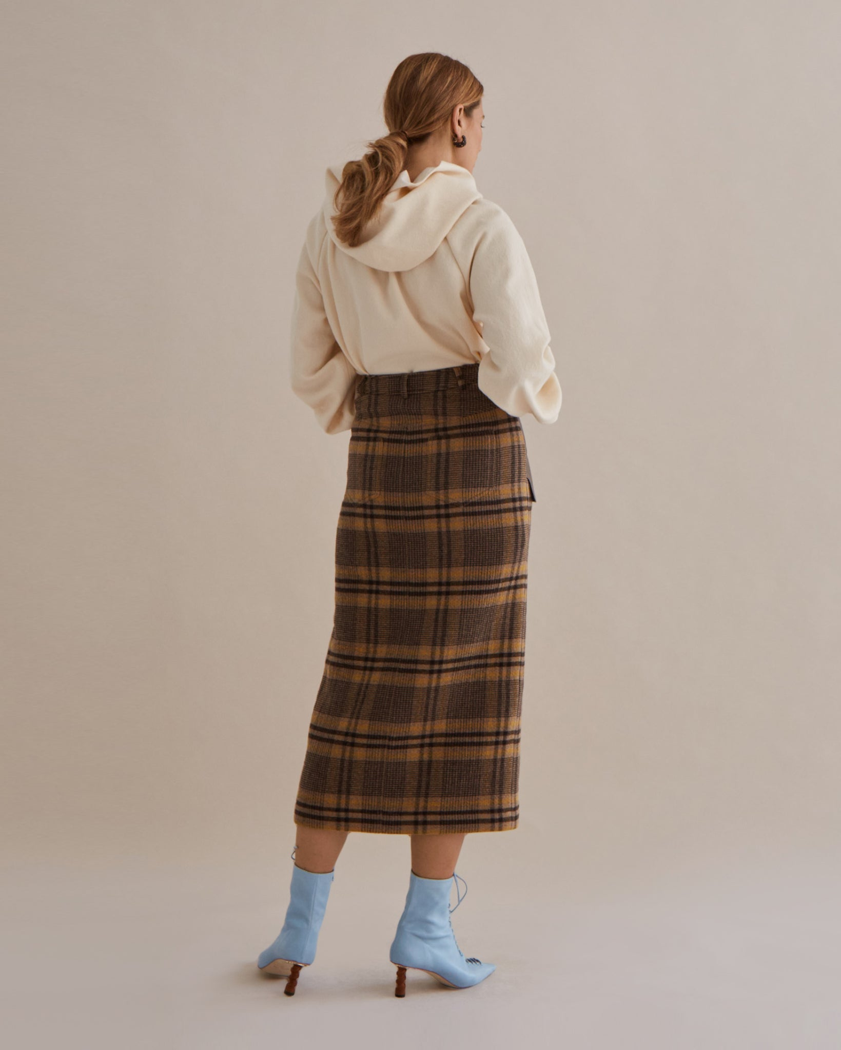 Maggie Skirt Wool Blend Check Brown - SPECIAL PRICE