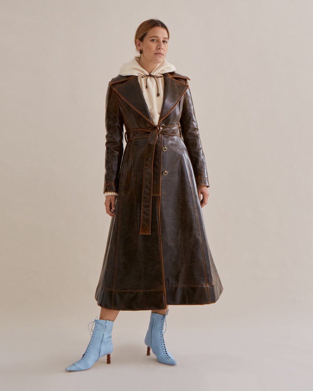 Rhea Trenchcoat Italian Wool Laminated Brown