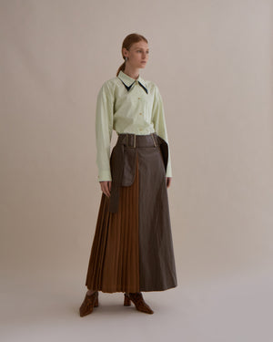 Evie Skirt Faux Leather Walnut and Cupro Camel